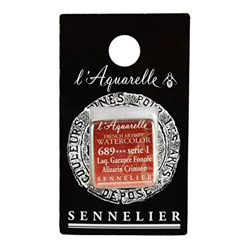 Sennelier L'Aquarell French Watercolor Half Pan Replacement, Alizarin Crimson