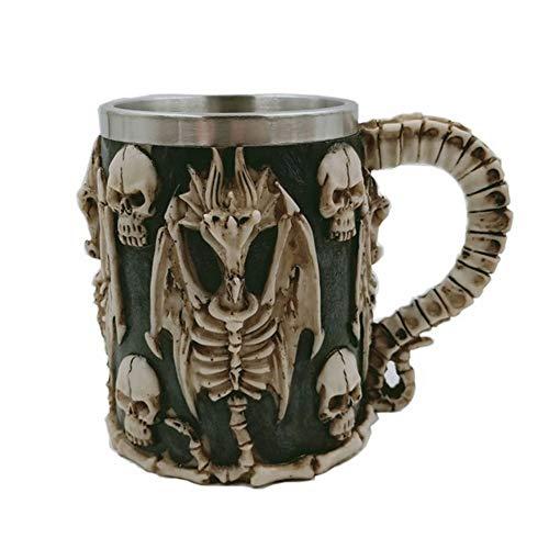 GZSC Reutilizable Taza de café 3D Pterosaur Skull Mug Cool Skeleton Design Resina Taza de café de Acero Inoxidable Taza de té Taza de Cerveza Vasos de Vino Bar Drinkware Regalo (Capacity : 450ml)