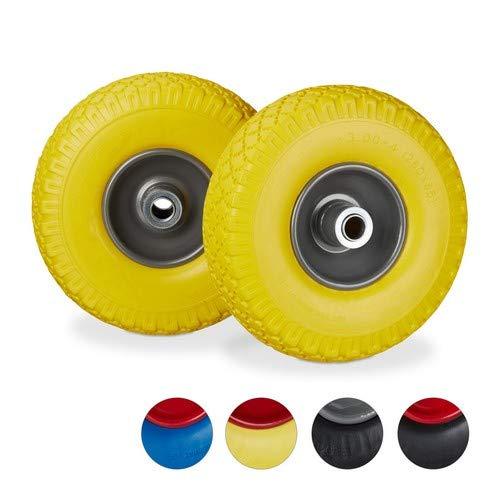 Relaxdays, geel-grijs, 2 x steekwagenwiel, lekvrije massieve rubberen banden, stalen velg van 3.00-4 inch, 20 mm as, 100 kg, 260 x 85 mm
