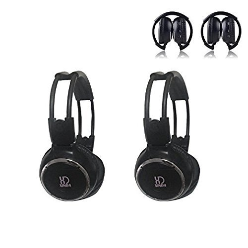 XINDA 2018 Updated Car Headset, 2 Packs Wireless Infrared Car Headset Double Channel Foldable Vechile IR Headphones for Car Entaintment