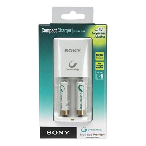 Sony Compact Charger inkl. 2 x AA Ni-MH Akku weiß