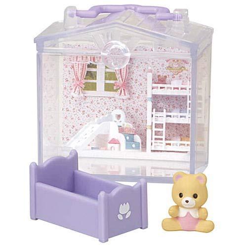 シルバニアファミリー かざれる赤ちゃんハウスとお庭4 [3.赤ちゃんハウス クマの赤ちゃん(ハリーちゃん)&ベビーベッド](単品) ガチャガチャ カプセルトイ