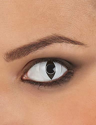 Lentilles de contact oeil reptile blanc - Taille Unique sans correction