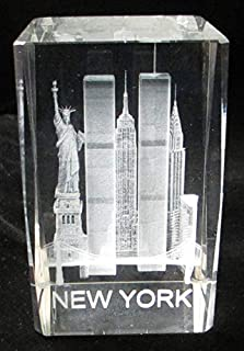 New York Souvenir NYC Skyline 3D Clear Crystal Laser Etched Glass Paperweight with Statue of Liberty Empire State Building World Trade Center Large Size 3