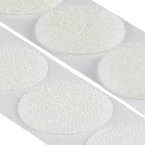 Klettpunkte selbstklebend, Set Haken & Flausch, verschiedene Durchmesser und Farben / Ø13 mm, weiß, 20 Stück