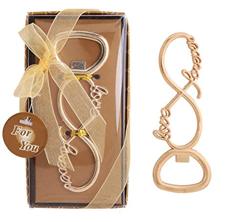 Gold LOVE Bottle Opener Bridal Wedding Favor with Country Burlap Tag Asst Qty
