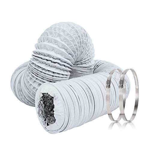 Hon&Guan Alurohr Flex-Schlauch Abluftrohr mit 2 Schlauchschelle Edelstahl für Abluftventilator, Badezimmer, Küche, Hydroponik (ø150mm*5m, Weiß)