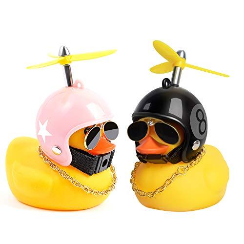 PiAEK Gelbes Gummiente Spielzeug mit Propellerhelm Autoschmuck Auto Armaturenbrett Dekorationen (J)