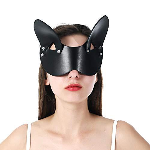 XWYWP Halloween Maske Leder Frau Maske Katze Maskerade Punk Cosplay für Schlaf Halloween Karneval Party Cosplay Maske EM-020