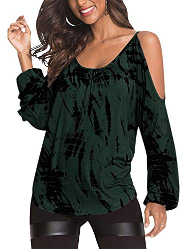 YOINS Camiseta Mujer Elegante de Manga Larga Camisa de Hombro Frío Blusa Casual Fiesta Tops Verde-Nuevo XXL