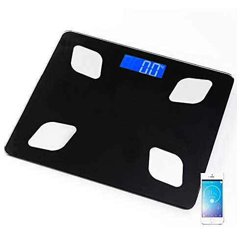 High Precision Bathroom Scale Bluetooth Body Fat Scale Shared Scale Electronic Scales Smartphone APP Slim and Wide Design 180KG Black