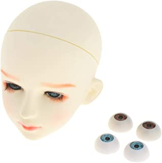 Perfeclan Doll Head Face Mold 1/3 BJD Body Parts DIY - Practice Training Head White Skin - The Head Cover Can be Unscrewed, Can Change Eyes