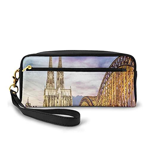 Con bolsa de lápiz con cremallera,Iluminado Dom en Colonia Viejo Puente y Rin Sunset Cultura Europea,Estuche pequeño maquillaje bolsa