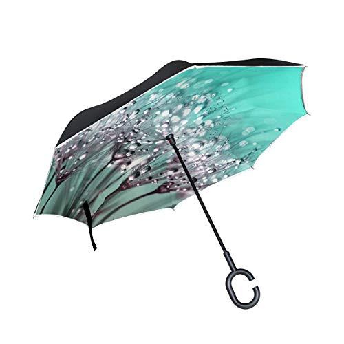 Paraplu met douche omgedraaide paraplu dubbellaags omkeerklep met C-vormige handgreep UV-bescherming winddicht voor auto in de open lucht