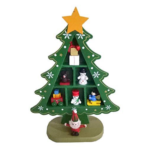 MIARORN Mini árbol Navidad Adornos Madera Decoración Oficina Fiesta Navidad Rejilla