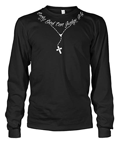 Cybertela Men's Only God Can Judge Me Tattoo Necklace Long Sleeve T-Shirt (Black, Large)
