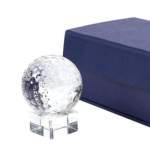 Golf Trophy - sport award trofee kleine optische kristallen golfbal trofee met aparte basis standaard, inclusief geschenkdoos, 2 x 2.6 x 2 inch