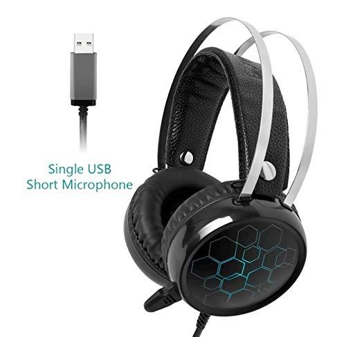 OUYAWEI CE Professionele 7.1 Gaming Headset Gamer Surround Sound USB Bedraad Hoofdtelefoon met Microfoon voor PC Computer Xbox One PS4 RGB Licht 7.1 short Mic