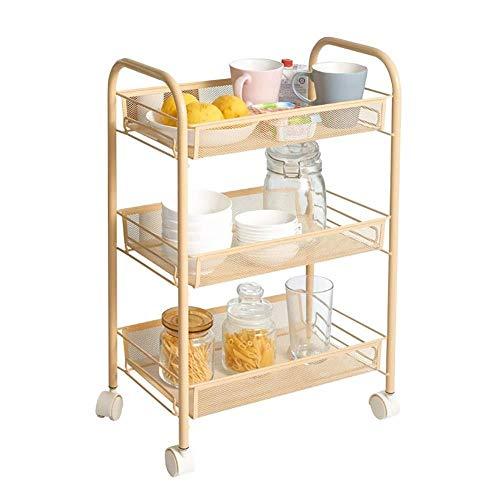 TROLLEOY Servierwagen-Trolley-Gold-Beauty-Nagel-Salon-Trolleywagen mit Tablett, Schlafzimmer-3-Etagen-Bodenlagerungstrolley auf Rädern (Size : 3 tier)