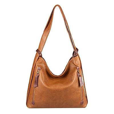 OBC Damen Tasche Rucksack 2 in 1 Umhängetasche Schultertasche Daypack Leder Optik Rucksacktasche Shopper Backpack Freizeitrucksack Cognac