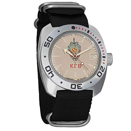 Vostok KGB Ruso de Anfibios Military para Hombre Reloj de Pulsera Negro Nailon # 71892