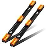 Partsam 2Pcs Amber Truck Trailer ID Light Bar 9 LED 3-lamp Front Clearance Identification Light Bar Amber Clearance Marker Light Strip Bar with Stainless Steel Brackets Sealed Waterproof