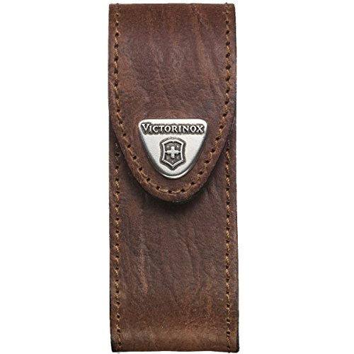 Victorinox Leder-Etui für Taschenmesser (Gürtelschlaufe, Klettverschluss, Braun, 3cm x 10cm, Braun)