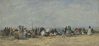 Perfect Effect Canvas ,the Amazing Art Decorative Canvas Prints Of Oil Painting 'Eugene Boudin - Beach Scene, Trouville,about 1860-70', 12x25 Inch / 30x64 Cm Is Best For Wall Art Decor And Home Gallery Art And Gifts