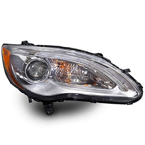 HEADLIGHTSDEPOT Chrome Housing Halogen Projector Headlight Compatible with Chrysler 200 2011-2014 Sedan Convertible Includes Right Passenger Side Headlamp
