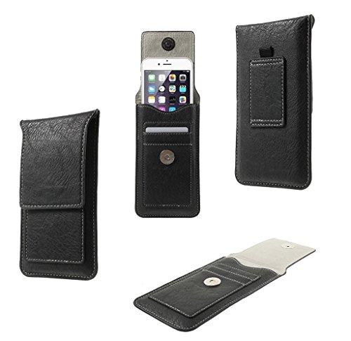 DFV mobile - Custodia Cintura Verticale in Eco Pelle con Passante e Porta Carte di Credito Compatibile con FREETEL Katana 01, FTJ152E - Nero