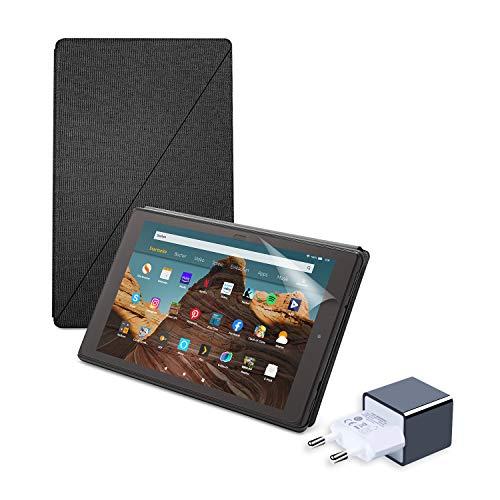 Fire HD 10 Essential B&le mit Fire HD 10-Tablet (64 GB, Schwarz, mit Werbung) + Amazon-Hülle mit Standfunktion (Anthrazit) + NuPro-Bildschirmschutzfolie (2er-Pack) + 15-W-USB-C-Ladegerät
