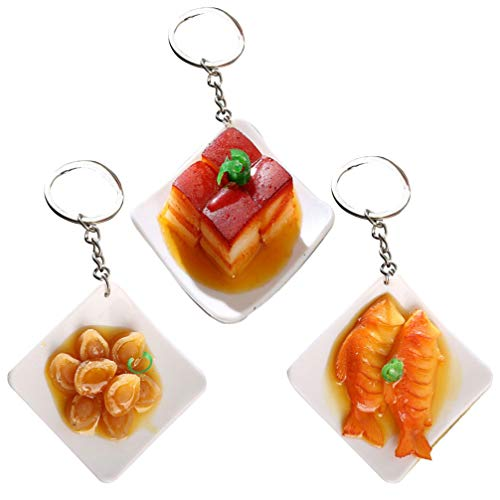 Artibetter 3 peças de chaveiros de comida simulação de comida com pingente divertido modelo de comida ornamento de brinquedo para crianças, bolsa de presente, decoração de chave de carro (estilo aleatório)