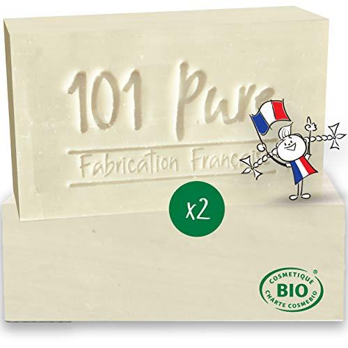 Savon Lait de Chèvre visage Bio (100g x 2) Peau Sèche - Fabrication Française - Nettoyant solide enrichi en Huile d'olive et Glycérine Bio - Lutte contre les rougeurs, acné, psoriasis, bouton noir