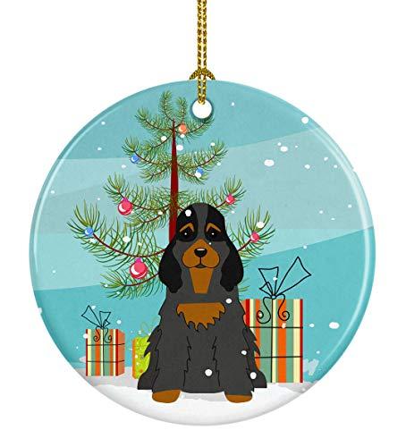 Caroline's Treasures Merry Christmas Tree Dekofigur Cocker Spaniel, Keramik, Schwarz / Hellbraun