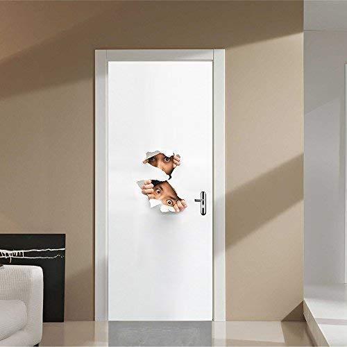 Wallflexi - Adhesivo decorativo para puerta, diseño de pico de Sneeky, vinilo, multicolor, 200 x 88 x 0,03 cm