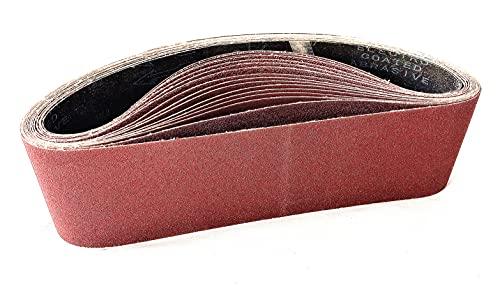 Schleifbänder 100 x 610 mm 80/120/150/240/400 je 3 Stück der Körnung,(15 Stück) Schleifband für Bandschleifer Schleifmaschine und Schleifen