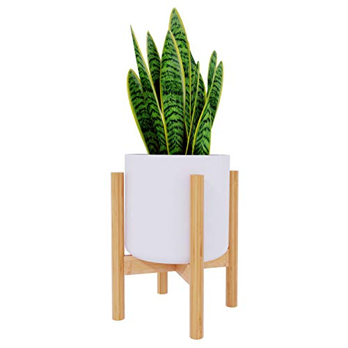 Plant Stand Flower Pot Holder - BAMFOX Indoor Bamboo Mid Century Modern Plant Holder Display Rack for House Plants, Home Decor, Up to 8 Inches (Pot Not Included)