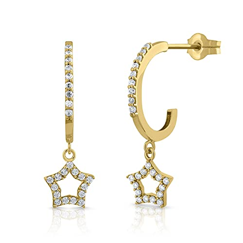 Certified Gold Earrings, Women's Band with Star Setting in Zircon, Pressure Closure, Measurements: 7 x 23 mm (1-5117)