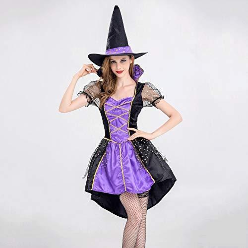 Wcsrcsy Erwachsene Hexe Kostüme Frauen Frack Kleid Lila Schwalbenschwanz Kleidung for Halloween/Weihnachten Party Coser Festival Ghost Festival Dress Up Kostüm (Größe : XL)
