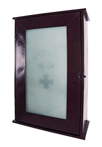 Haku Moebel 27897 armoire à pharmacie en métal laqué marron antique, porte avec verre integré, 3 plateaux, monté, 17x43x62 cm