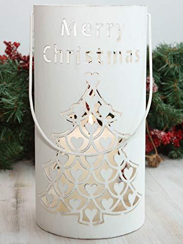 Countryfield Laterne Merry Christmas Windlicht Metall weiß Landhaus Weihnachtsdeko