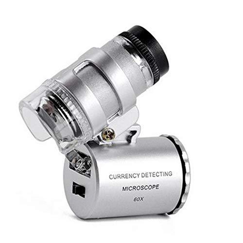 Gloednieuw, hoge kwaliteit, Pocket Mini Vergrootglas 60X HD Lens Draagbare Vergrootglas Microscoop met 2 LED Lichten en UV Bankbiljet Lamp voor Lezen Inspectie Solderen Naaldwerk Reparatie Hobby Ambachten H