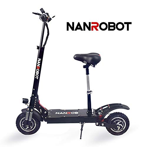NANROBOT D4+ Powerful Electric Scooter-10 inch Tires,2000W Motor Power Allow for a Top Speed of 40 MPH and 45 Miles Long Range (D4+ 2.0 (23.4 Ah) with Seat)