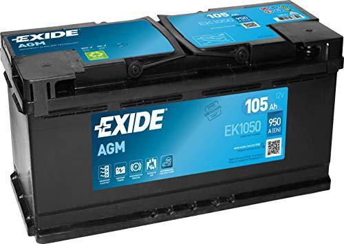 Exide EK1050 Start-Stop AGM 12V 105AH 950A, Schwarz