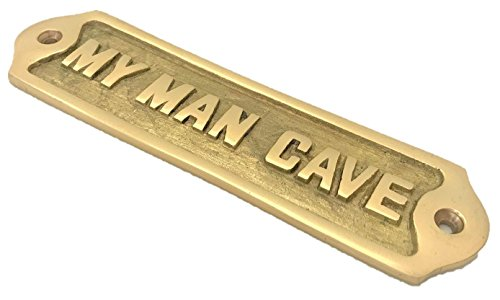 Hand Made Man CAVE Sign SHED Antique Style Fathers Day Brass Plaque Husband/DAD Gift Retro Style