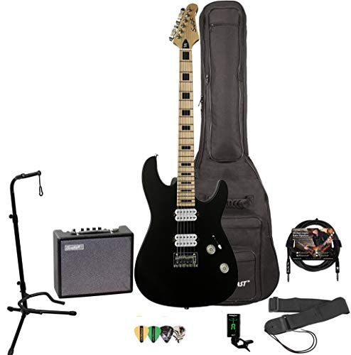 GoDpsMusic 6 String Sawtooth ST-M24 Electric Guitar Player's Pack, Right Handed Satin Black (ST-M24-SBK-PLAY)
