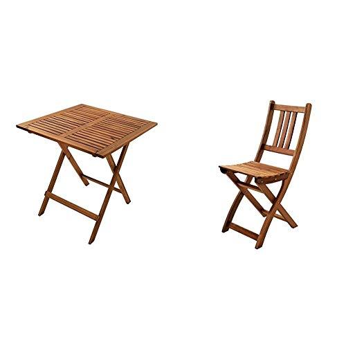 SAM Balkontisch Camelia klappbarer Holztisch, Akazienholz massiv & Klappstuhl Blossom Gartenstuhl für Balkon & Terrasse, zusammenklappbar, Akazienholz massiv, FSC 100% Zertifiziert, 46 x 36 cm