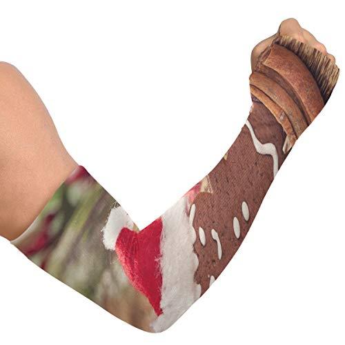 Manches de bras homme de pain d'épice de Noël et cloches rouges à manches longues pour les femmes manches de bras cool pour hommes couverture de bras en soie glacée unisexe pour la course à pied cycl