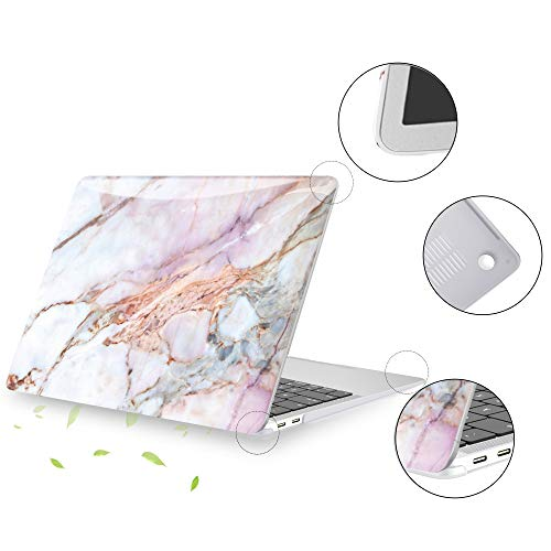 Belk Hülle Kompatibel mit MacBook Pro 13 Zoll 2020-2016 mit/ohne Touch Bar A2338 M1 A2289 A2251 A2159 A1989 A1706 A1708, Glattes Muster Hartschale Schutzhülle Case & Tastaturschutz, Marmor