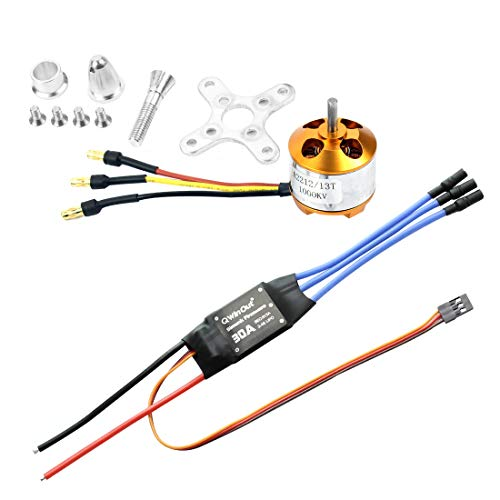 QWinOut A2212 1000KV Brushless Outrunner Motor 13T + 30A Speed Controller ESC + 3.5mm Banana Connectors for DIY RC Drone Aircraft KK 4 Axle Copter UFO